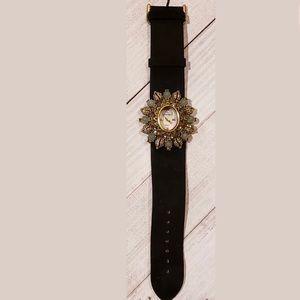 Heidi Daus crystal flower with suede watch